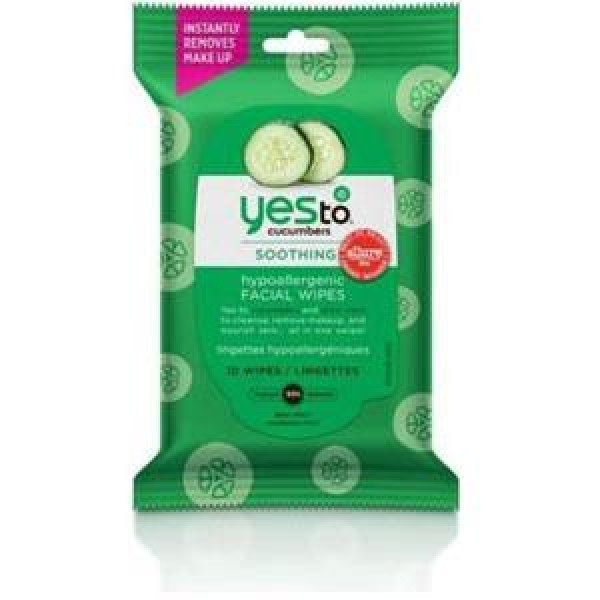 Yes To Cucumbers Hypoallergenic Facial Wipes 10 ct - Travel Size