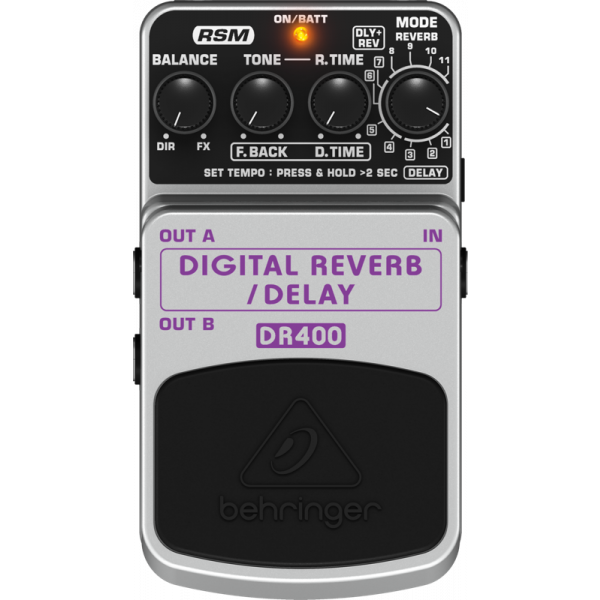 BEHRINGER DIGITAL REVERB/DELAY DR400 Digital Stereo Effects Pedal