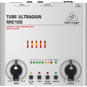 BEHRINGER TUBE ULTRAGAIN MIC100 Vacuum Tube Preamplifier with Limiter