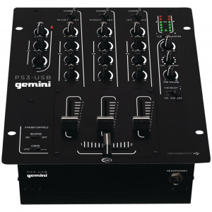 Gemini DJ PS3-USB 3 Channel 10-Inch Mixer with USB-Play and Record